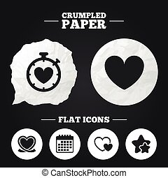 Heart ribbon icon Timer stopwatch symbol - Crumpled paper...