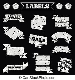 Document signs. File extensions symbols. - Stickers, tags...