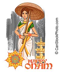 South Indian Keralite woman with umbrella celebrating Onam -...