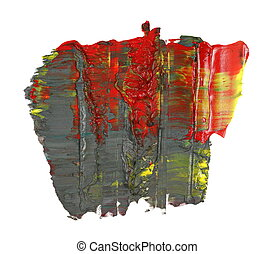 brush strokes oil paint isolated - photo red green grunge...