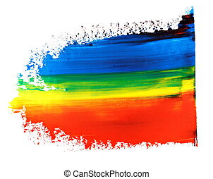 brush strokes oil paint isolated - photo blue red and yellow...