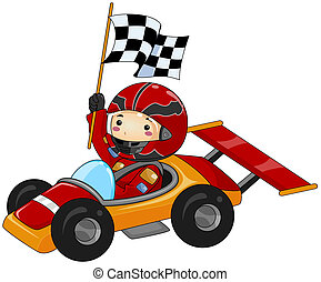 Go Kart - Boy on Go Kart with Clipping Path