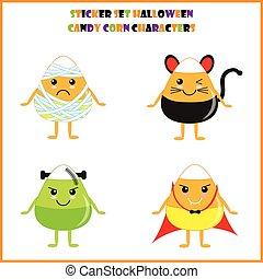 Halloween illustration with cute candies corn as mummy, zombie, vampire, and black cat