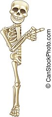 Skeleton Cartoon Pointing at Sign - A happy skeleton cartoon...