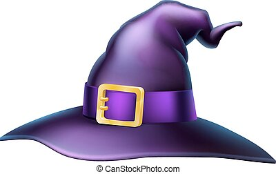 Halloween Witch Hat - Cartoon Halloween witchs hat with a...
