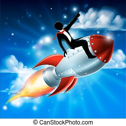 Business Man on Rocket Ship - A silhouette businessman...