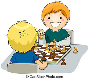 Chess - Boys playing Chess with Clipping Path