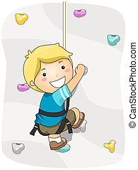 Wall Climbing - Boy Wall Climbing with Clipping Path