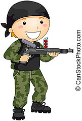 Paintball Gun - Boy playing with Paintball Gun with Clipping...