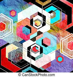Geometric watercolor background with diamonds - Multicolored...