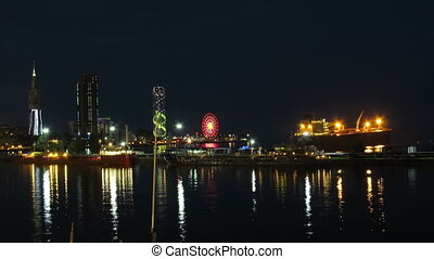 Night City Of Batumi, Georgia. Batumi Sea Port. Time Lapse -...