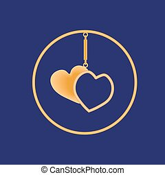 Golden sharmik in the form of two hearts in a circle on a blue background