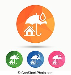 Home insurance sign icon. Real estate insurance. - Home...