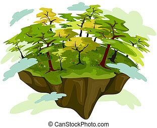 Forest on Floating Island with Clipping Path