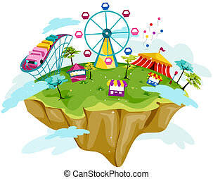 Theme Park on Floating Island with Clipping Path