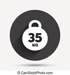 Weight sign icon 35 kilogram kg Sport symbol Fitness Circle...
