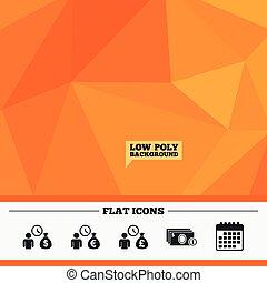 Bank loans icons Cash money symbols - Triangular low poly...