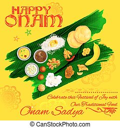 Onam Sadya feast on banana leaf - illustration of Onam Sadya...