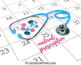 3d rendering of stethoscope, calendar and note - 3d...