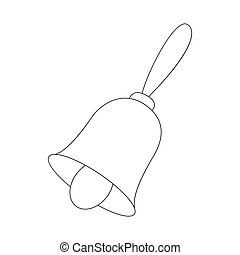 Christmas bell icon, outline style