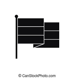 Black flag icon, simple style - Black flag icon in simple...