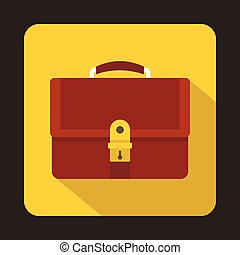 Business brown briefcase icon, flat style