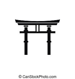 Japanese torii icon, simple style - Japanese torii icon in...