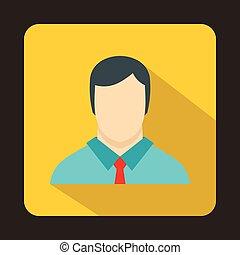Buisnessman icon, flat style - Buisnessman icon in flat...