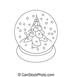 Snow glass ball fir tree icon, outline style