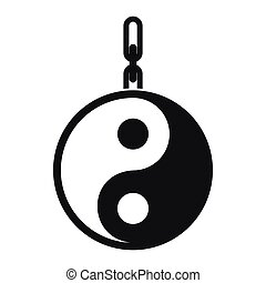 Sign yin yang icon, simple style - Sign yin yang icon in...