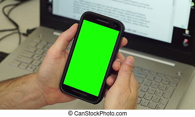 Man Mobile Phone Frustration Chroma - Anonymous man in front...