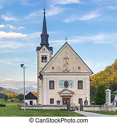 Catholic church in Bohinjska bela village, Bled, Slovenia -...
