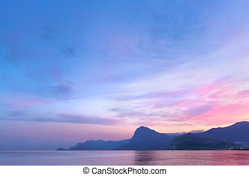 sunset on a background of mountains - Republic of Crimea...