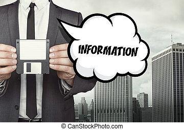 Information text on speech bubble with businessman holding...