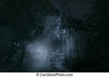 Foggy old european cemetery