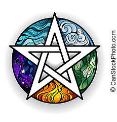 Bright pentagram - artistically painted magical pentagram...