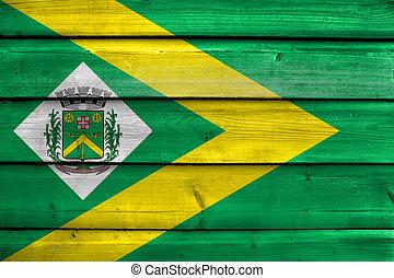 Flag of Santa Barbara d'Oeste, Sao Paulo, Brazil, painted on old wood plank background