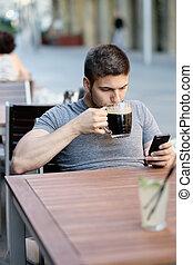 móvel, telefone, Cerveja, bebendo, homem