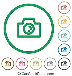 Camera outlined flat icons - Set of camera color round...