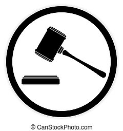 Judge gavel button - Judge gavel button on white background...