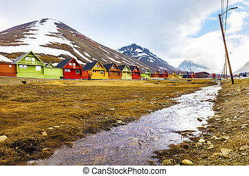 Colorful wooden houses at Longyearbyen in Svalbard Summer in...
