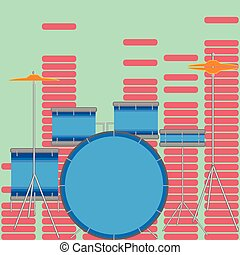 Drum set flat style. Drum kit and music, musical...