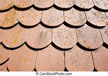 Roof tiles on a house at the romantic street Germany