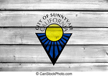 Flag of Sunnyvale, California, USA, painted on old wood plank background