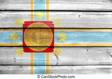 Flag of Tbilisi, Georgia, painted on old wood plank...