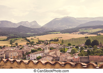 Litte Medieval Village in Provence, Francewith View of the...