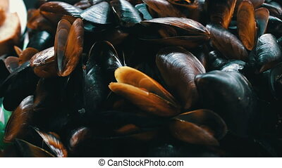Seafood Mussels on a Plate in a Restaurant - Prepared...