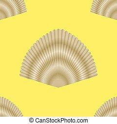 Exotic Seashell Seamless Pattern on Yellow Background
