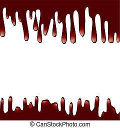 Chocolate syrup drip pattern isolated on a white background,...
