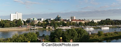 Magdeburg - Panorama of the banks of the Elbe River near...
